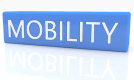 Mobility. 3d render blue box with text Mobility on it on white background with reflection royalty free illustration