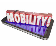 Mobility 3d Word Cell Mobile Phone New Technology Portable On th. Mobility word in red 3d letters on a mobile or cell phone to illustrate hardware and software Stock Photography