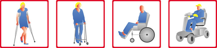 Mobility or handicap icons Stock Images