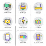 Mobility Modern Smart Gadget Printer Camera TV Player Icon Set Royalty Free Stock Photo