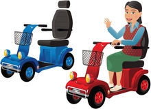 Mobility sccoters and older person. Two different images of typical mobility scooter plus an older person on one of them. E.P.S. 10 vector file included with vector illustration