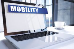 Mobility. Text on modern laptop screen in office environment. 3D render illustration business text concept. word network mobile security web phone technology royalty free illustration