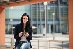 Mobility - woman with tablet Royalty Free Stock Photos