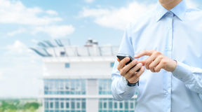 Mobilkommunikation mit Exemplar-Platz Lizenzfreie Stockfotos