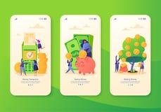 Mobilna app strona, ekranizuje set Pojęcie dla strony internetowej na biznesu i finanse temacie royalty ilustracja