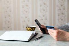 Mobilna bankowość online Fotografia Stock