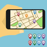 Mobilna mapa Obrazy Royalty Free