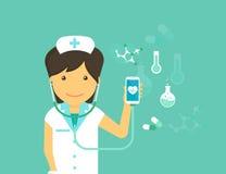 Mobilna medycyny ilustracja kobiety smartphone z symbolami i lekarka royalty ilustracja