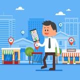 Mobilna nawigaci pojęcia wektoru ilustracja Mężczyzna mienia smartphone z gps miasta mapą na ekranie i trasie ilustracja wektor