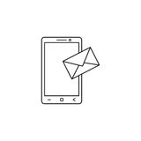 Mobilna poczta linii ikona, sms podpisuje, wiadomość Obrazy Royalty Free