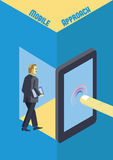 Mobilna technologia dla biznesowej isometric ilustraci Ilustracji