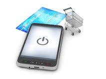 Mobilna technologia w zakupy - abstrakcjonistyczna ilustracja Zdjęcia Royalty Free