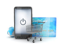 Mobilna technologia w zakupy - pojęcie ilustracja Zdjęcia Royalty Free