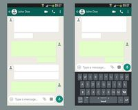 Mobilna UI zestawu gadka app z mobilnym klawiaturowym szablonem na smartphone ekranie ilustracji