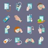 Mobilne ikony ustawiający zdrowia mieszkanie ilustracji