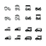 Mobilne karmowe rowerowe i samochodowe ikony Zdjęcie Stock