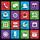 Mobilne zastosowanie ikony płaskie Zdjęcia Royalty Free