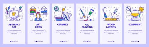 Mobilnego app onboarding ekrany Abstrakcjonistyczna sztuka, kultura krytyk, obraz olejny Menu sztandaru wektorowy szablon dla str royalty ilustracja