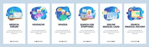 Mobilnego app onboarding ekrany Chory żeński pacjent, migrena, mdłość, rewizja objawy Menu sztandaru wektorowy szablon dla ilustracja wektor