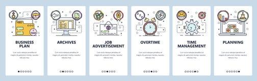 Mobilnego app onboarding ekrany Plan biznesowy, akcydensowy zastosowanie i oferta, czasu zarządzanie Menu sztandaru wektorowy sza ilustracji
