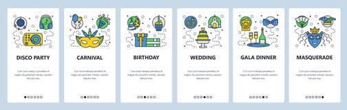 Mobilnego app onboarding ekrany Rozrywek ikony partyjne, carnaval, ślub, maskarada Menu sztandaru wektorowy szablon royalty ilustracja