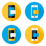 Mobilnego wiadomość okręgu Płaskie ikony Ustawiać Obraz Stock