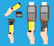 Mobilnego zakupu i kredytowej karty 4 sety Obraz Stock