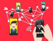 Mobilnej technologii komórkowa komunikacja ilustracja wektor