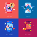 Mobilni apps, gry, fotografii selfie i samochód, Obrazy Royalty Free