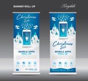 MOBILNI apps Staczają się up sztandaru szablon na zima krajobrazu tle, Bożenarodzeniowa sprzedaż, statywowy układ, błękitny sztan ilustracja wektor