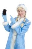Mobilni dziewczyna bożenarodzeniowi prezenty Fotografia Royalty Free