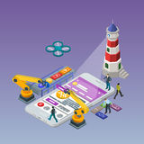 Mobilny app rozwój Mieszkania 3d isometric telefon Obraz Stock