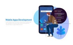 Mobilny App rozwój, programisty kod na laptopie Mądrze telefonu zastosowanie również zwrócić corel ilustracji wektora royalty ilustracja