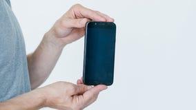 Mobilny bankowość dostępu telefonu apps czerni ekran zdjęcia stock