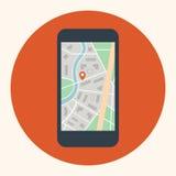 Mobilny dotyka telefon z mapą na ekranie Zdjęcia Stock