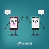 Mobilny dziewczyny i chłopiec opowiadać: komunikacja Obrazy Stock