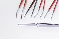 Mobilny elektroniki naprawy set stalowy kahat i tweezwrs Obrazy Stock