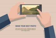 Mobilny fotografii pojęcie Obsługuje przyglądające fotografie natura krajobraz dzwonić Odizolowywający na drewnianym tle ilustracji