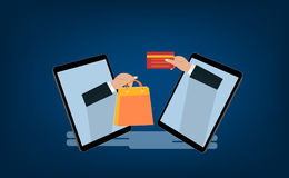Mobilny i online sklepowy pojęcie Cyfrowego marketing, sklep, Ecommerce zakupy Obrazy Stock