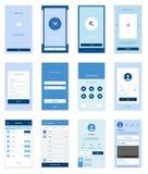 Mobilny interfejsu użytkownika 35 ekranów Wirefrme zestaw dla Obrazy Stock