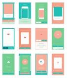 Mobilny interfejsu użytkownika 35 ekranów Wirefrme zestaw dla Zdjęcie Stock