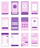 Mobilny interfejsu użytkownika 35 ekranów Wirefrme zestaw dla Obrazy Royalty Free