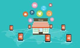 Mobilny interneta zakupy na kreskowym wektorowym tle Zdjęcie Royalty Free