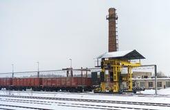 Mobilny kolejowy żuraw Fotografia Royalty Free