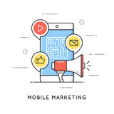 Mobilny marketing, handel elektroniczny, internet reklama i promocja, Płaski kreskowej sztuki stylu pojęcie Editable uderzenie royalty ilustracja
