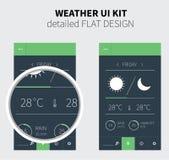 Mobilny płaski projekt prognoza pogody Zdjęcia Royalty Free