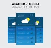 Mobilny płaski projekt prognoza pogody Zdjęcie Royalty Free