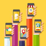 Mobilny podaniowy pojęcie ręki target2927_1_ telefony Fotografia Stock