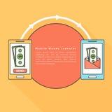Mobilny przelew pieniędzy z smartphone Obrazy Stock