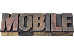 Mobilny słowo w drewnianym typ Obraz Royalty Free